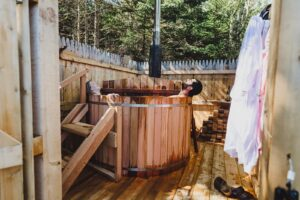 relaxing campground vacation with hot tub