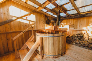 Lower domes comes with covered lobster pot hot tub